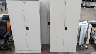 3 off Royale pale grey tall metal cupboards