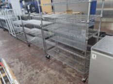 Quantity of chrome bolt-free racking, comprising 12 shelves, all measuring approx. 1.2m wide plus on