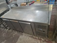 Blizzard HBC3 stainless steel multi-compartment refrigerated prep cabinet circa 1800mm x 700mm x 850