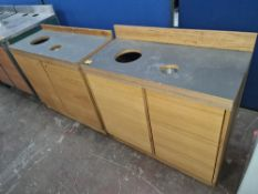 2 off matching 2-door cupboards, each incorporating holes for rubbish chutes