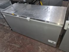 Vestfrost SZ464CSTS silver grey chest freezer with stainless steel lid measuring circa 1560mm long