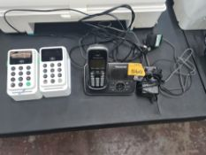 2 off iZettle card readers on stands plus Panasonic DECT telephone handset with docking station/char