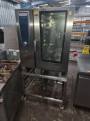 Rational self-cooking centre 10-grid oven model SCCWE101 including dedicated mobile stand with tray