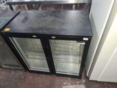 Capital black twin glass door undercounter back bar/bottle fridge