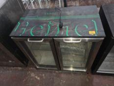Heineken branded black & chrome twin glass door undercounter back bar/bottle fridge
