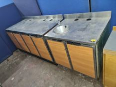 Pair of stainless steel topped cupboards, one incorporating a basin, both incorporating deep surface