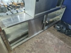 Large stainless steel wall-mountable cupboard with 2 sets of sliding doors, max. dimensions 2000mm x