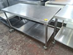 Heavy duty mobile twin-tier table with max. dimensions approx. 1500mm x 700mm x 820mm