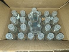 1 box containing a total of 144 travel size bottles of alcohol based hand sanitiser. Each bottle is