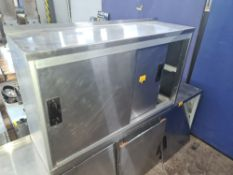 Stainless steel wall-mountable cabinet with twin sliding doors measuring approx. 1000mm x 300mm x 60