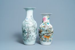 A Chinese qianjiang cai landscape vase and one with antiquities, 19/20th C.