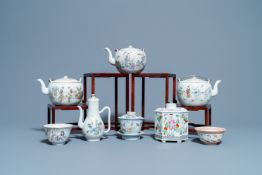 Four Chinese famille rose teapots, three bowls and a caddy, 19/20th C.