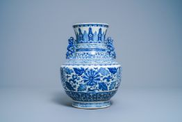 A Chinese blue and white 'hu' vase with floral design, Qianlong mark, 19th C.
