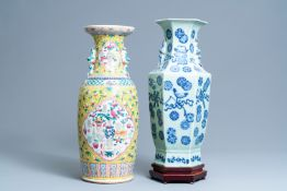 A Chinese hexagonal celadon-ground vase and a yellow-ground famille rose vase, 19th C.