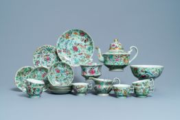 A Chinese Canton famille rose celadon-ground service, 19th C.