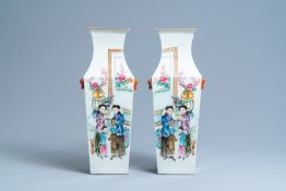 A pair of square Chinese famille rose vases, 19/20th C.