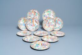 Twelve Chinese Canton famille rose plates, 19th C.