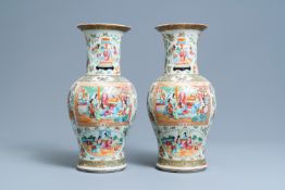 A pair of Chinese Canton famille rose vases, 19th C.