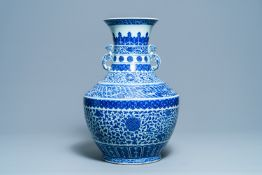 A large Chinese blue and white 'hu' vase with floral scrolls, Qianlong mark, 19th C