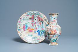 A Chinese Canton famille rose dish and a vase, 19th C.