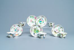 Five Chinese Canton famille rose 'butterfly' cups and saucers, 19th C.