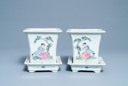 A pair of Chinese famille rose jardinières on stands, Qianlong mark, Republic
