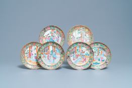 Six Chinese Canton famille rose plates, 19th C.