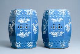 A pair of hexagonal blue-ground Chinese garden seats, 19th C.