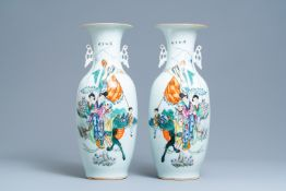 A pair of Chinese famille rose vases, 19/20thÊ C.