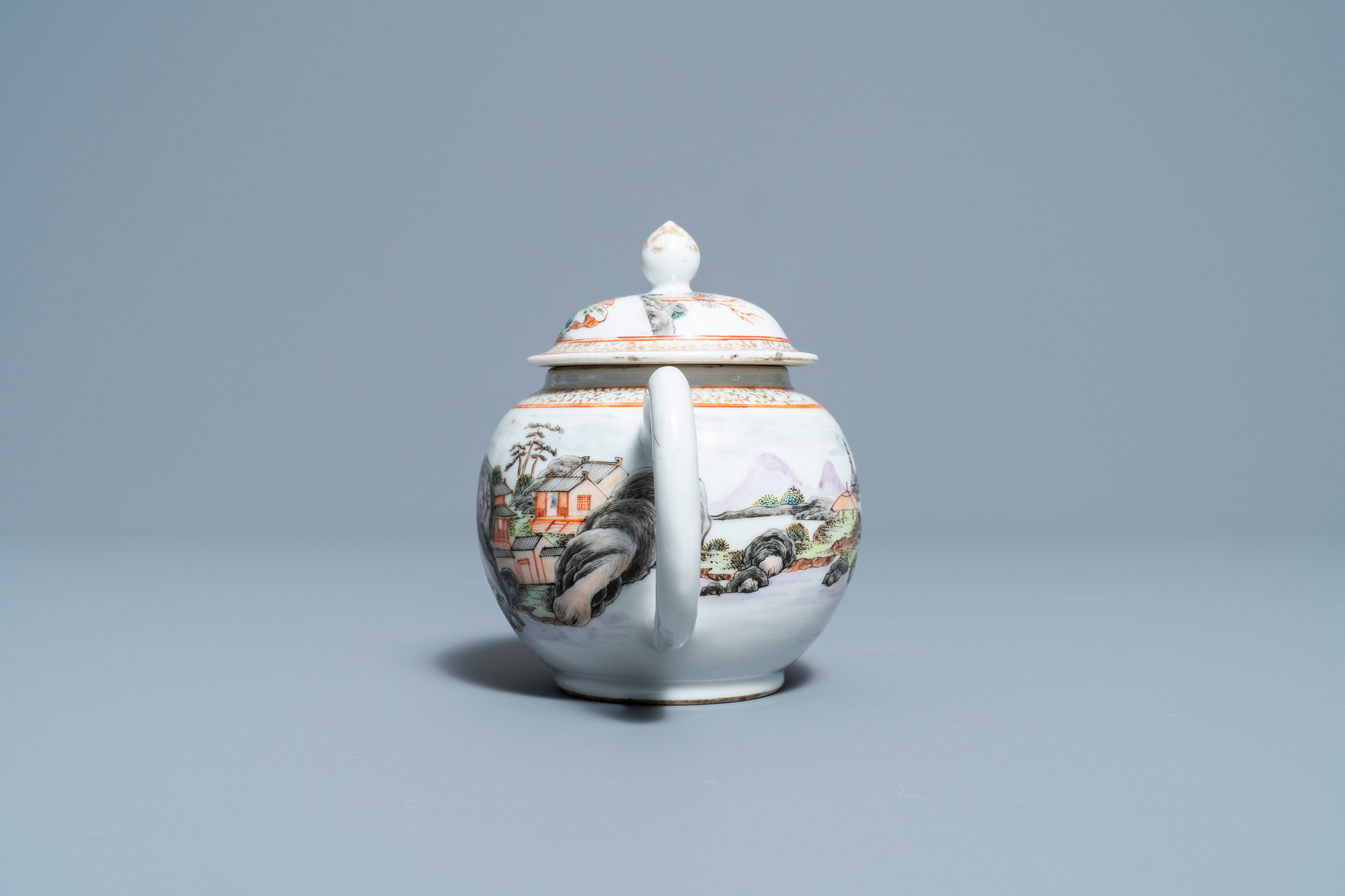 A fine Chinese 'landscape' teapot and a pair of cups and saucers, Yongzheng - Image 11 of 15