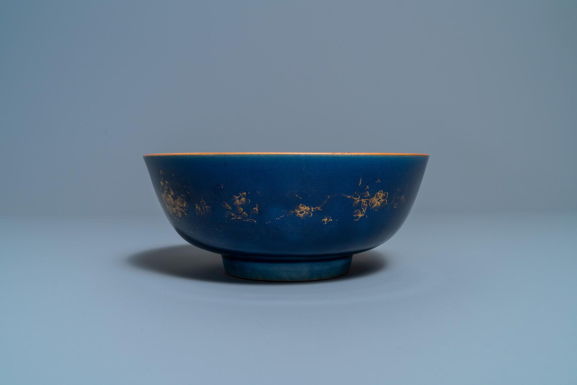 Three Chinese gilt-decorated monochrome blue bowls, Kangxi - Image 9 of 13