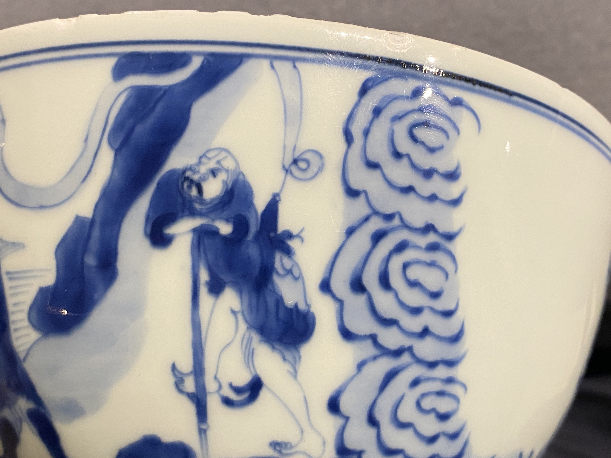 A Chinese blue and white 'immortals' bowl, Kangxi - Image 28 of 31