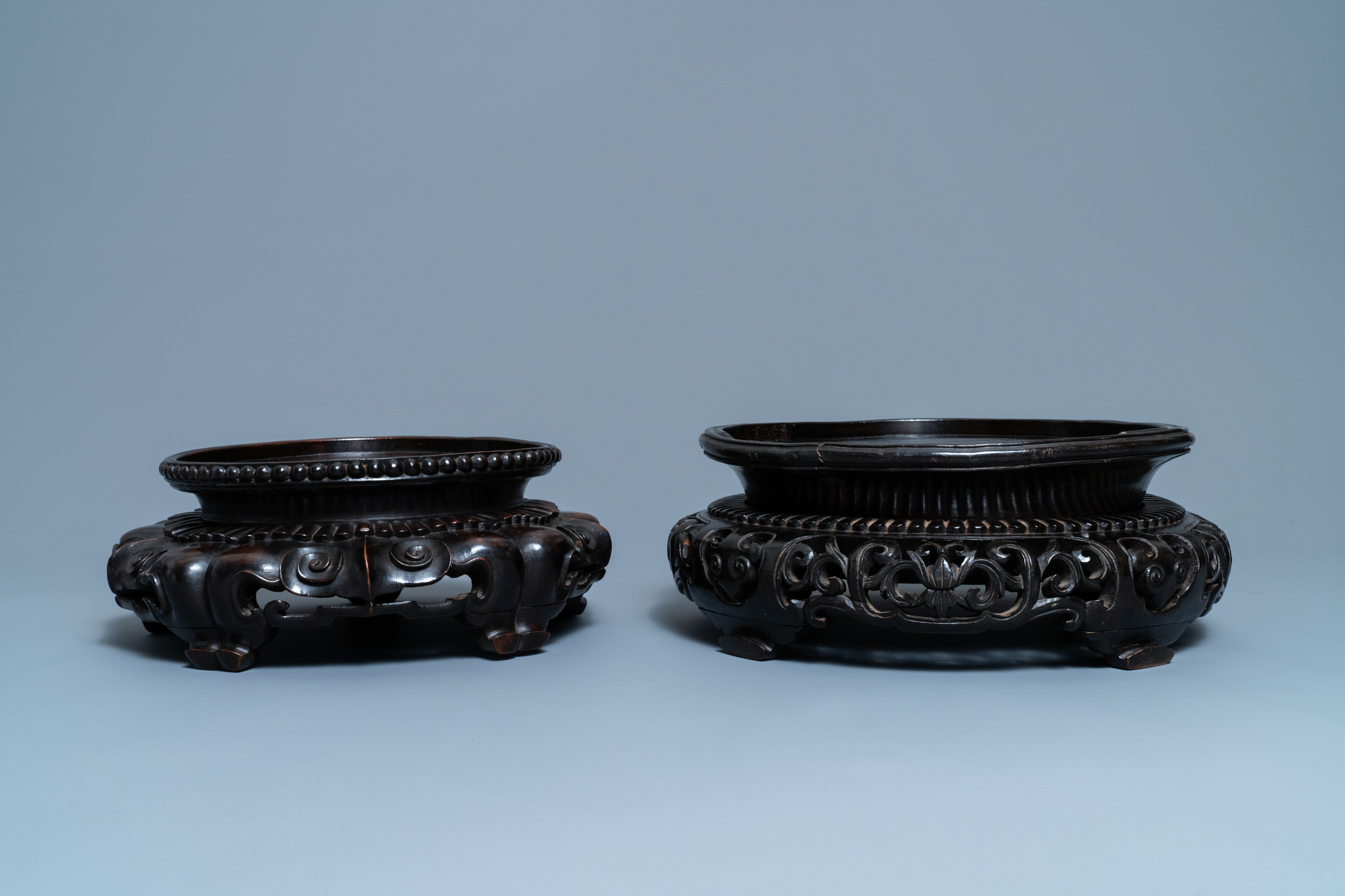 Two large Chinese reticulated wooden stands, 18/19th C. - Image 4 of 7