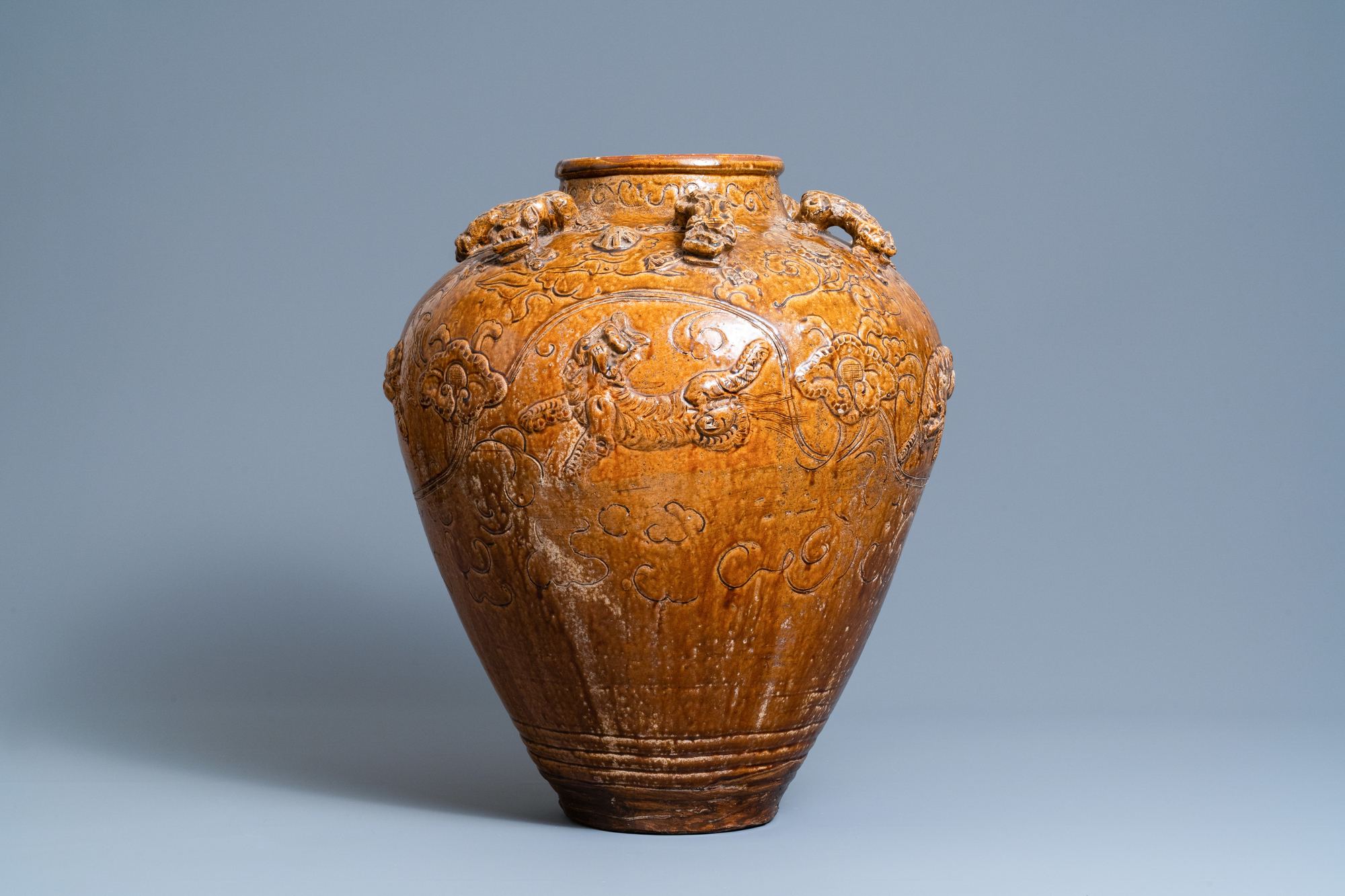 A large Chinese brown-glazed relief-molded martaban jar with Buddhist lions, Ming - Image 3 of 6