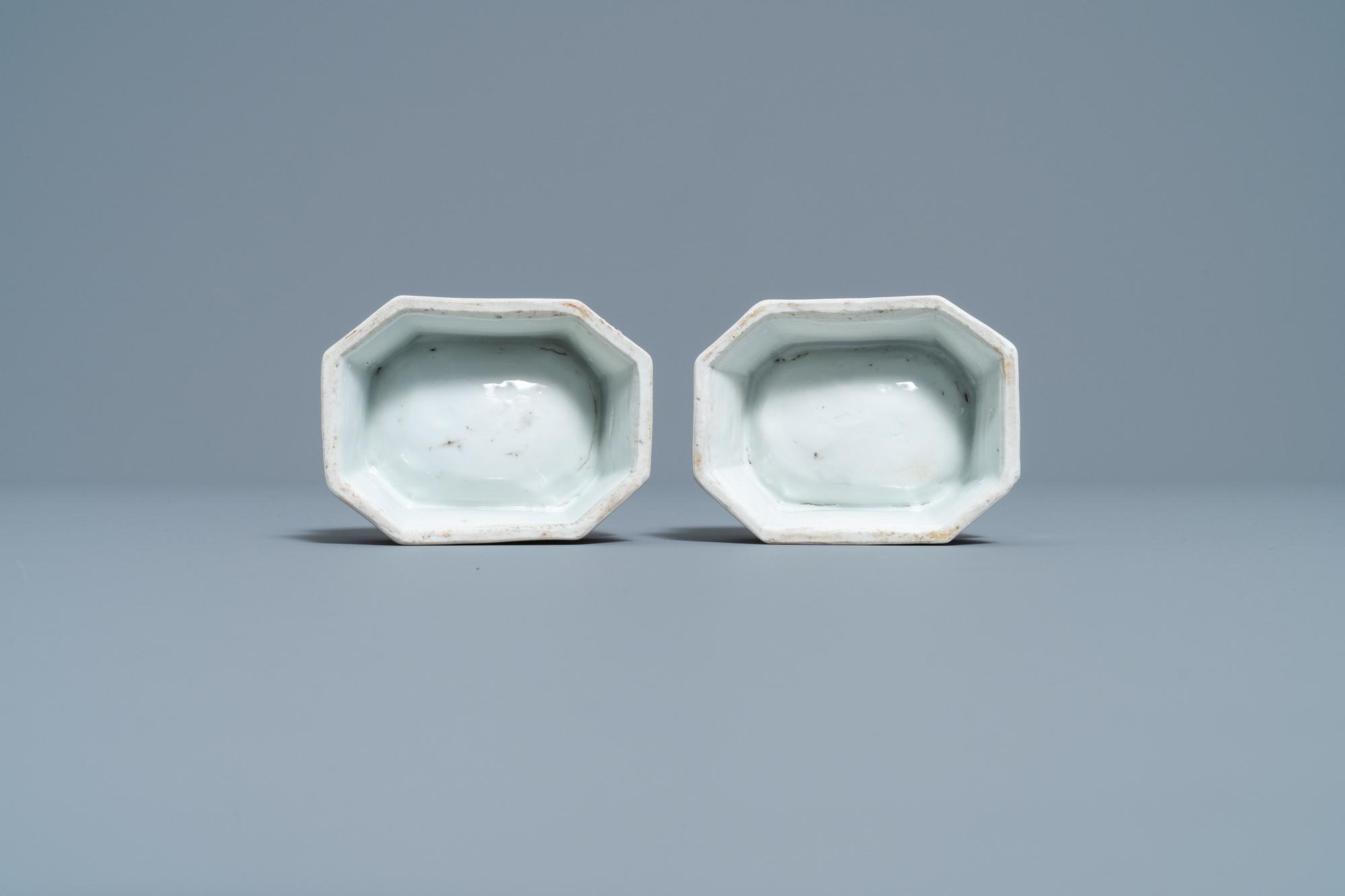 A pair of Chinese Scottish market Ross of Balnagowan armorial salt cellars, Qianlong - Image 7 of 7