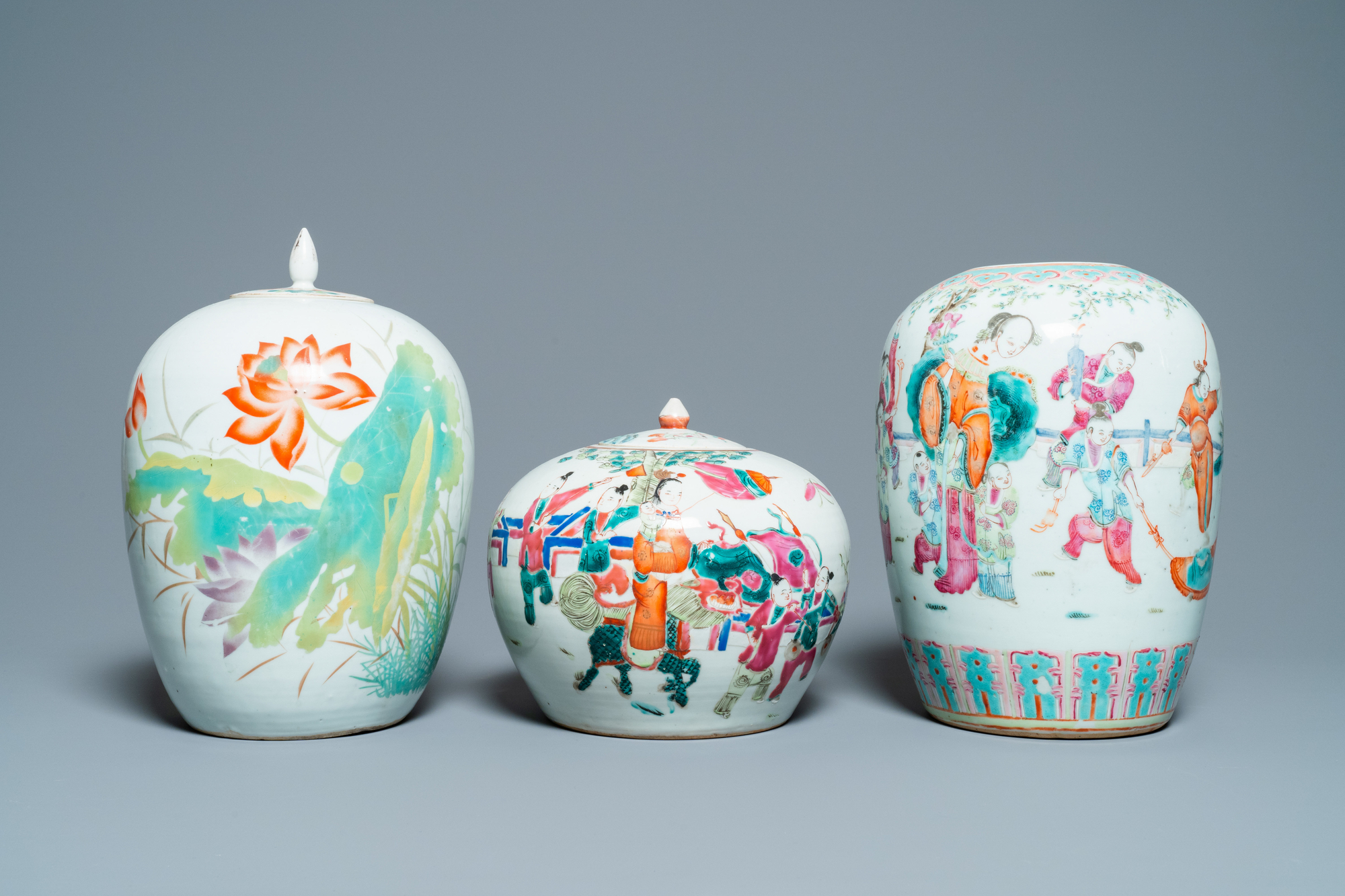 Six Chinese famille rose and verte vases, 19/20th C. - Image 2 of 13
