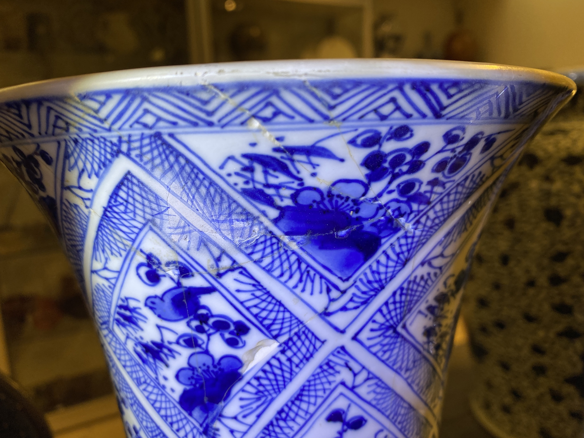A large Chinese blue and white five-piece garniture with floral and landscape panels, Kangxi - Image 65 of 66