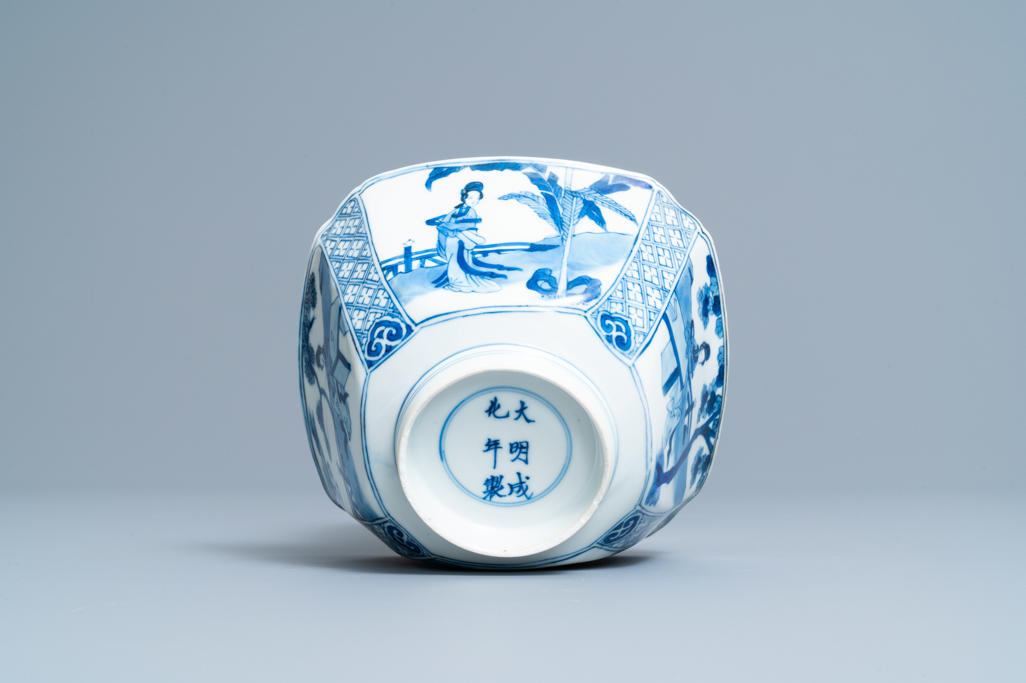 A Chinese square blue and white bowl, Chenghua mark, Kangxi - Image 7 of 7