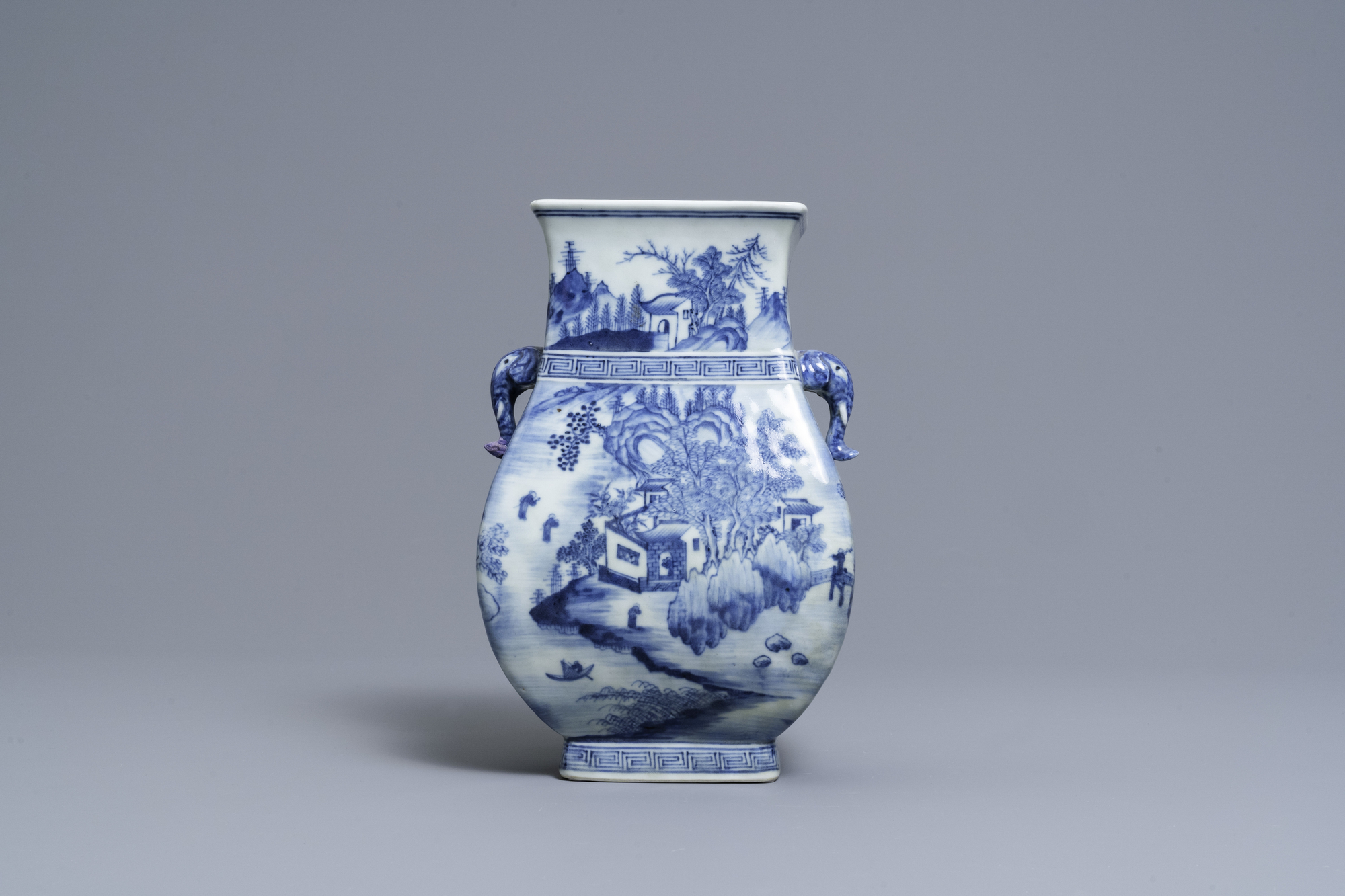 A Chinese blue and white vase with elephant handles, Qianlong