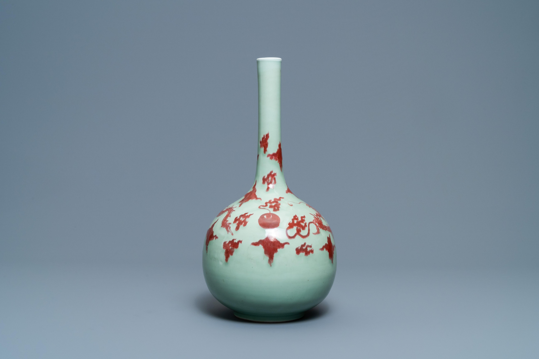 A Chinese copper-red celadon-ground 'dragon' vase, Kangxi - Image 3 of 13