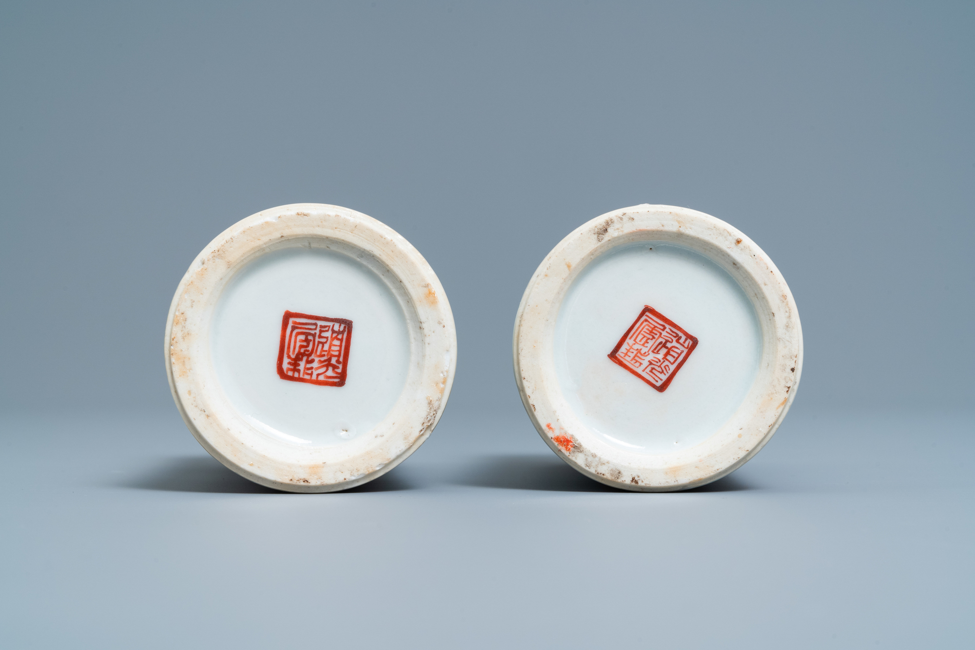 A pair of Chinese famille rose 'Wu Shuang Pu' brush pots, Daoguang mark and of the period - Image 7 of 7