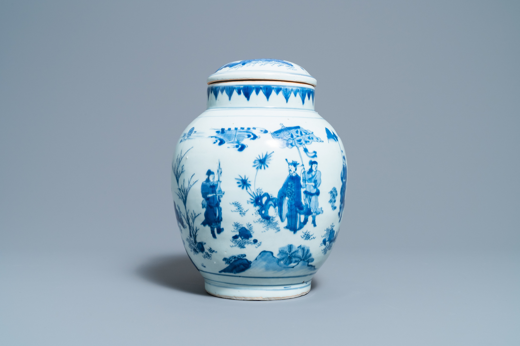 A Chinese blue and white jar and cover with figures in a landscape, Transitional period - Image 2 of 13