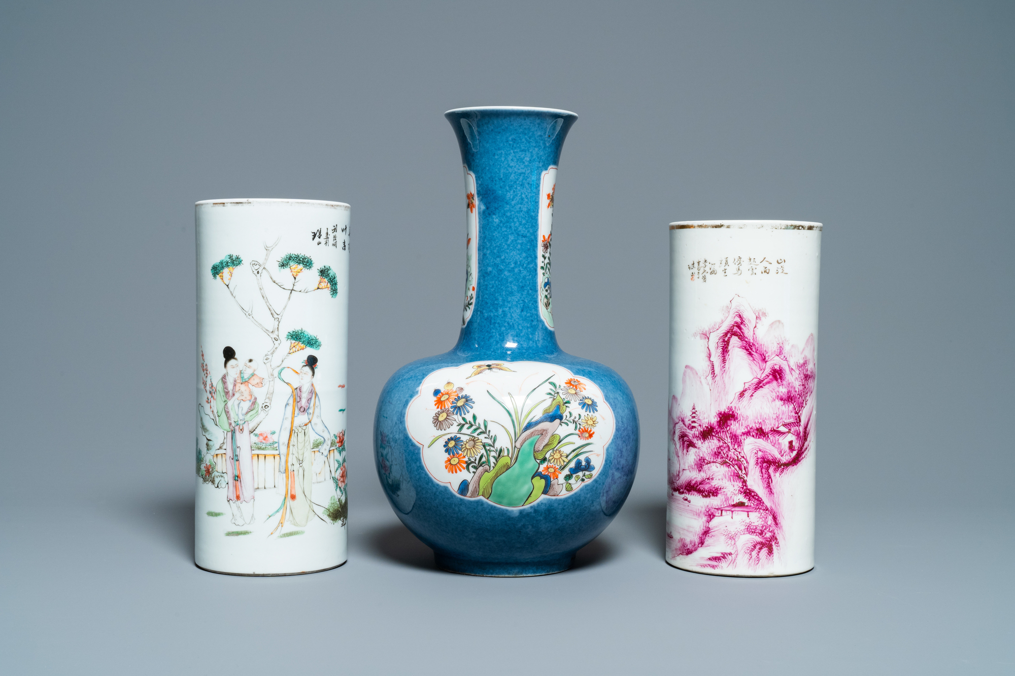 Six Chinese famille rose and verte vases, 19/20th C. - Image 8 of 13