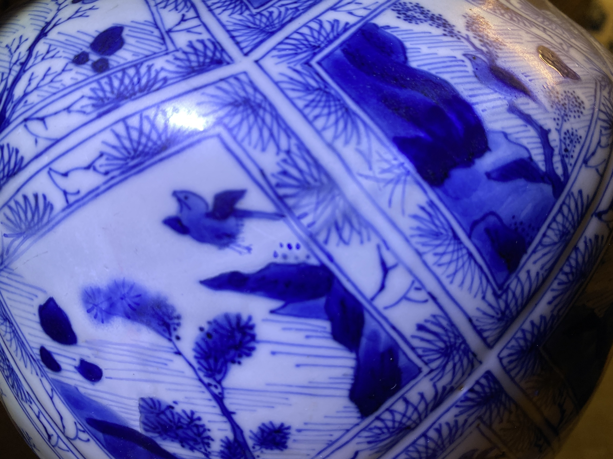 A large Chinese blue and white five-piece garniture with floral and landscape panels, Kangxi - Image 43 of 66