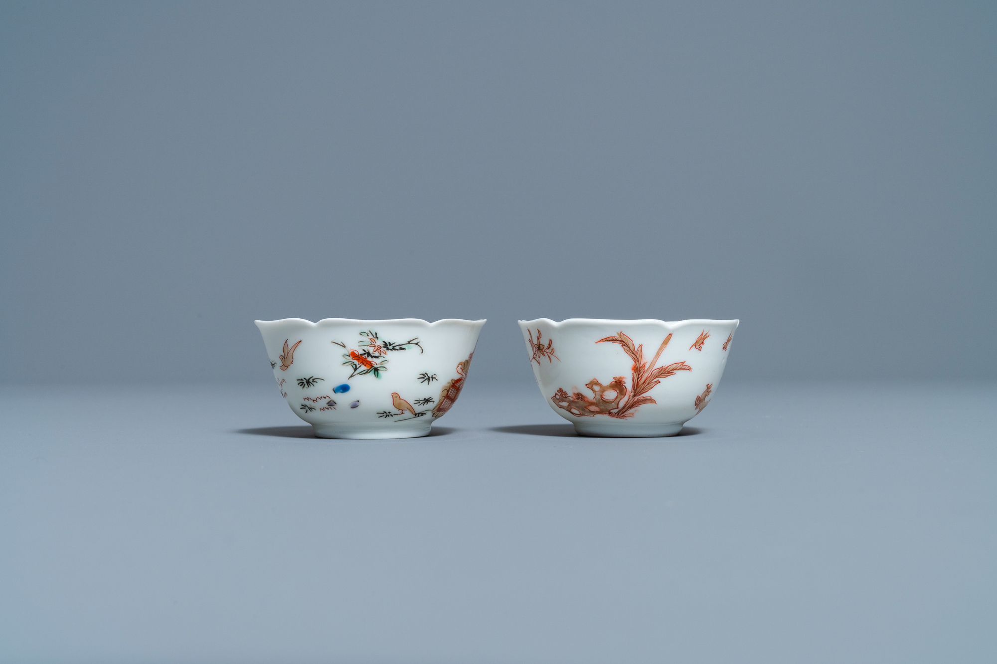 Two Chinese iron-red and gilt cups and saucers, Yongzheng - Image 7 of 9