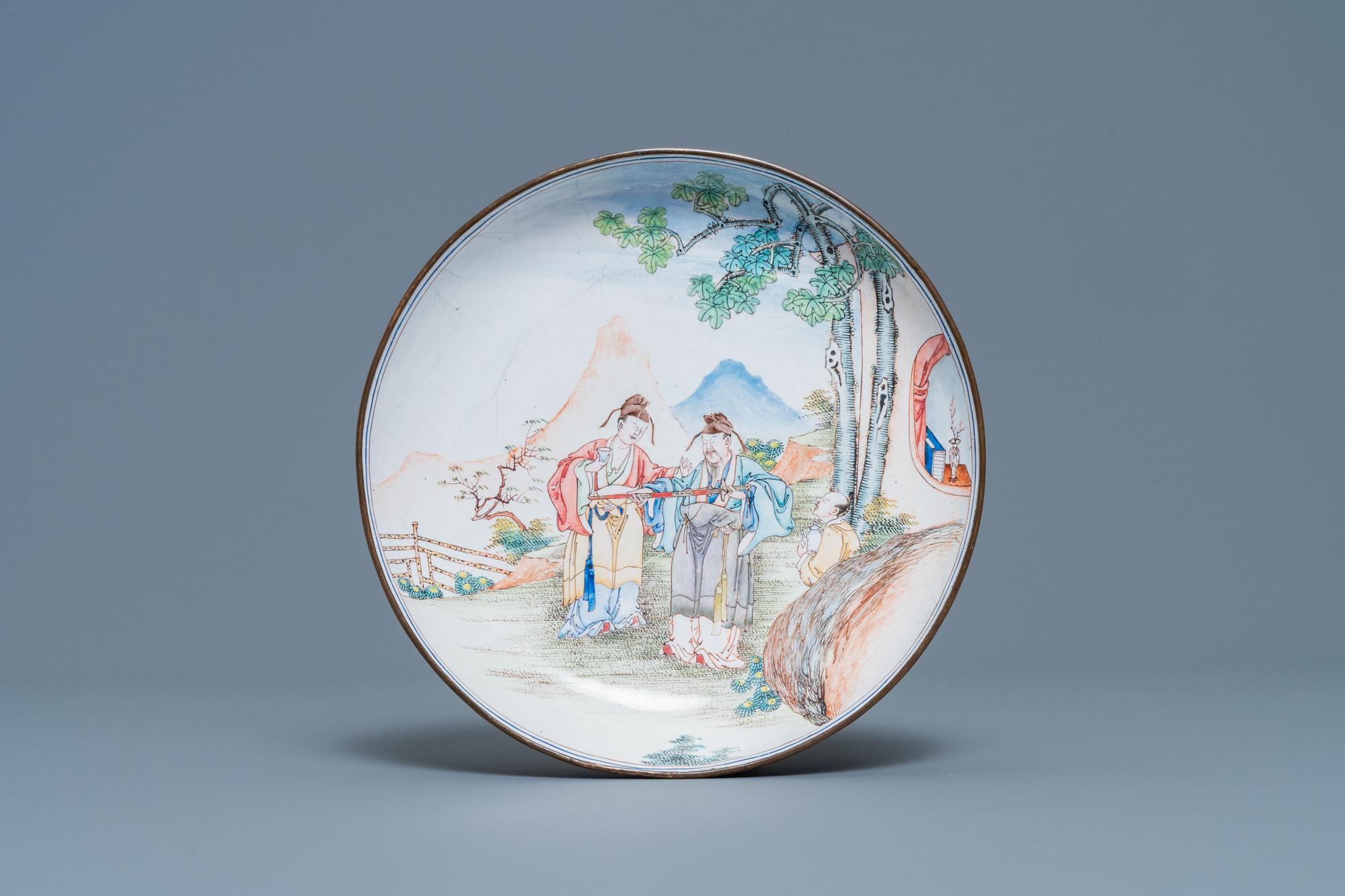A Chinese Canton enamel 'scholars' plate, Qianlong
