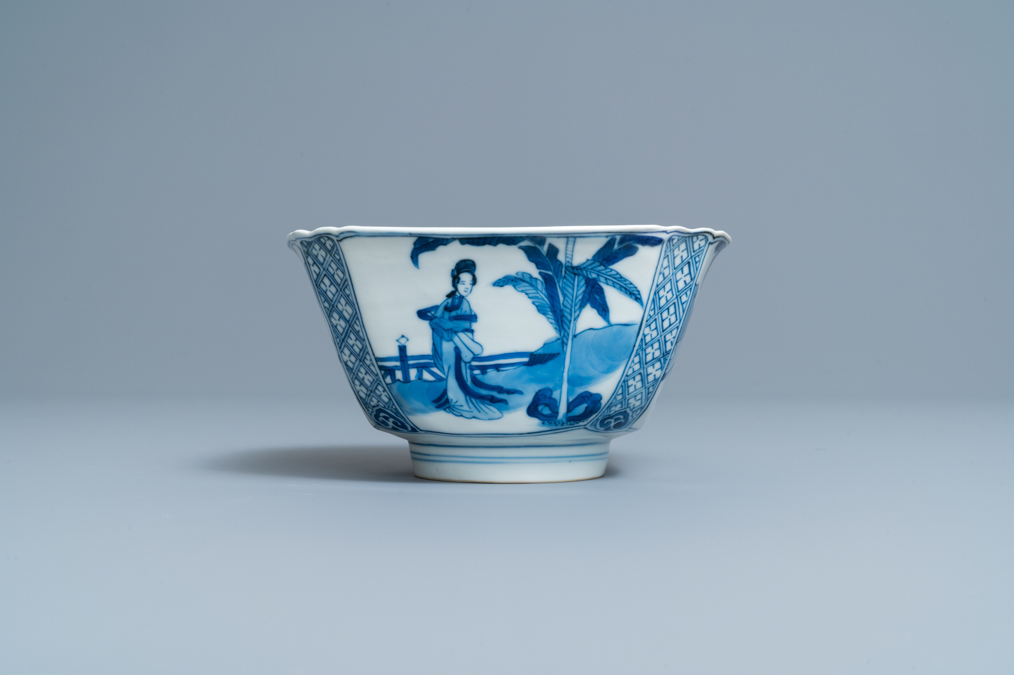 A Chinese square blue and white bowl, Chenghua mark, Kangxi - Image 2 of 7