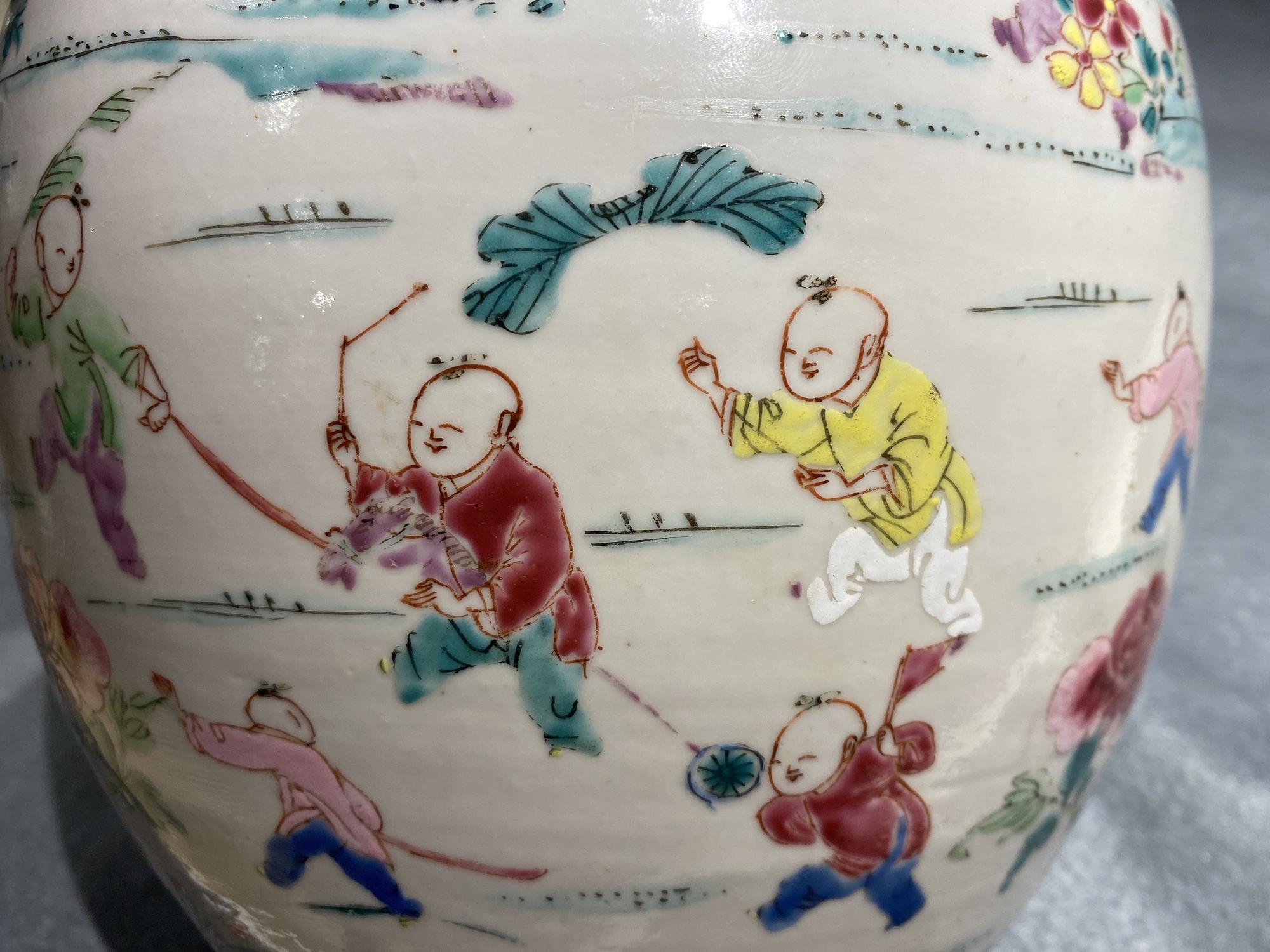 A Chinese famille rose 'hundred boys' jar, Yongzheng - Image 12 of 17
