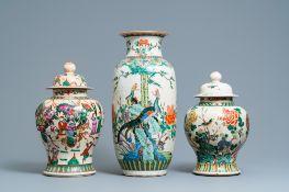 Three Chinese Nanking famille rose and verte crackle-glazed vases, 19/20th C.