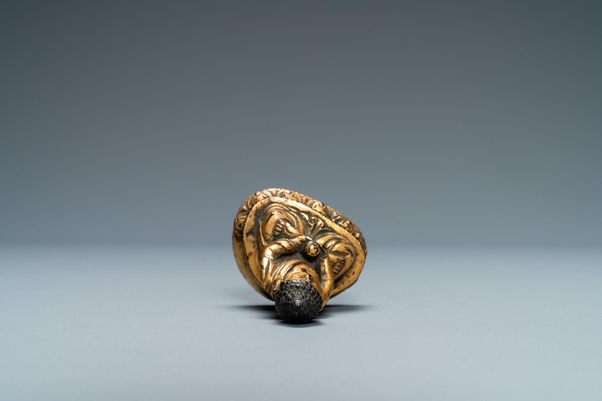 A Sino-Tibetan gilt bronze figure of Buddha, Ming - Image 5 of 7